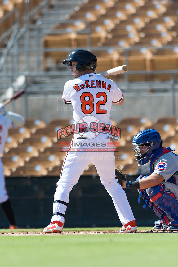 Glendale Desert Dogs center fielder Ryan McKenna (82), of the Baltimore Orioles organization, at bat during an Arizona Fall League game against the Mesa Solar Sox at Camelback Ranch on October 15, 2018 in Glendale, Arizona. Mesa defeated Glendale 8-0. (Zachary Lucy/Four Seam Images)