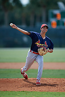 GCL Cardinals relief pitcher Alex Gallegos (47) delivers a pitch during a game against the GCL Marlins on August 4, 2018 at Roger Dean Chevrolet Stadium in Jupiter, Florida.  GCL Marlins defeated GCL Cardinals 6-3.  (Mike Janes/Four Seam Images)
