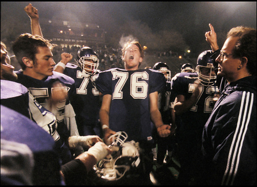 The College Park Falcons get motivated before a football game against the Northgate Broncos. (1998 photo by Pico van Houtryve/Special to the Contra Costa Times)