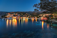 The famous village Assos by night in Kefalonia island, Greece
