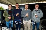 Enjoying a few pints in the Horse Shoe Bar in Listowel on Monday, l to r: Cathal Hannon (Listowel), Paul McGrath, Kev Whelan and Olan Deasy.