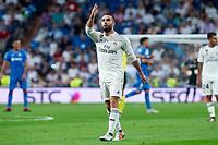 Real Madrid Dani Carvajal celebrating a goal during La Liga match between Real Madrid and Getafe CF at Santiago Bernabeu in Madrid, Spain. August 19, 2018.  *** Local Caption *** © pixathlon<br /> Contact: +49-40-22 63 02 60 , info@pixathlon.de