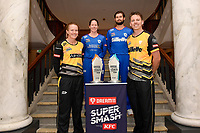 Lauren Down, captain of the Auckland Hearts, Maddy Green, captain of the Wellington Blaze, Michael Bracewell, captain of the Wellington Firebirds and Robbie O'Donnell, captain of the Auckland Aces (L-R)  Super Smash Captains photo opportunity at Basin Reserve, Wellington on Wednesday 23 December 2020.<br /> Copyright photo: Masanori Udagawa /  www.photosport.nz