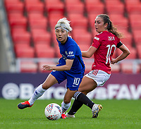 6th September 2020; Leigh Sports Village, Lancashire, England; Women's English Super League, Manchester United Women versus Chelsea Women; Ji So-yun of Chelsea Women under pressure from Katie Zelem of Manchester United Women