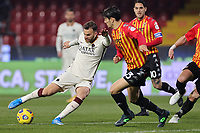 Borja Mayoral of AS Roma and Alessandro Tuia of Benevento Calcio compete for the ball during the Serie A football match between Benevento Calcio and AS Roma at Ciro Vigorito stadium in Benevento (Italy), February 21, 2021. <br /> Photo Cesare Purini / Insidefoto