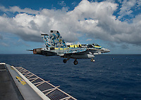 111211-N-DR144-399 PACIFIC OCEAN (Dec. 11, 2011) An F/A-18C Hornet assigned to Strike Fighter Squadron (VFA) 113 launches from the flight deck of Nimitz-class aircraft carrier USS Carl Vinson (CVN 70). Carl Vinson and Carrier Air Wing (CVW) 17 are currently underway on a Western Pacific deployment.  (U.S. Navy photo by Mass Communication Specialist 2nd Class James R. Evans/Released)