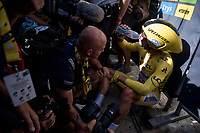 yellow jersey / GC leader Julian Alaphilippe (FRA/Deceuninck - Quick-Step) surprisingly wins the TT stage around Pau ans is mobbed by the press immediately after finishing<br /> <br /> Stage 13 (ITT): Pau to Pau(27km)<br /> 106th Tour de France 2019 (2.UWT)<br /> <br /> ©kramon
