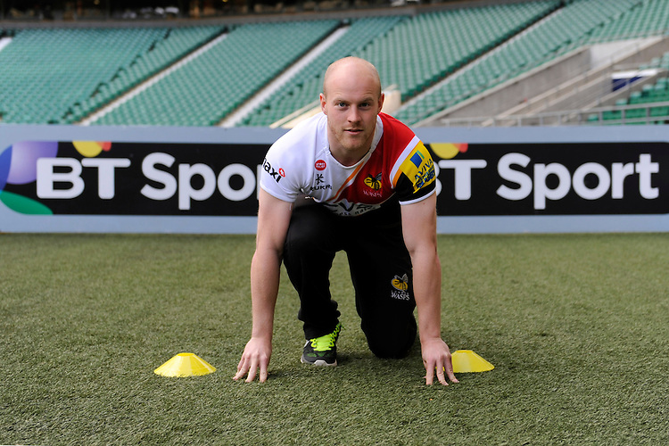 Joe Simpson of London Wasps demonstrates sprint techniques during the Aviva Premiership Rugby London Wasps Sprint Clinic at Twickenham Stadium on Monday 14th April 2014 (Photo by Rob Munro)