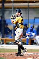 Pittsburgh Pirates catcher Jonathan Schwind #92 during a minor league spring training game against the Toronto Blue Jays at Englebert Minor League Complex on March 16, 2013 in Dunedin, Florida.  (Mike Janes/Four Seam Images)
