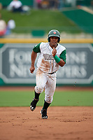 Fort Wayne TinCaps third baseman Eguy Rosario (1) runs the bases during a game against the Wisconsin Timber Rattlers on May 10, 2017 at Parkview Field in Fort Wayne, Indiana.  Fort Wayne defeated Wisconsin 3-2.  (Mike Janes/Four Seam Images)