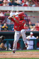 Harrisburg Senators catcher Pedro Severino (4) at bat during a game against the Erie Seawolves on August 30, 2015 at Jerry Uht Park in Erie, Pennsylvania.  Harrisburg defeated Erie 4-3.  (Mike Janes/Four Seam Images)