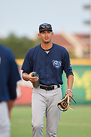 Mobile BayBears Jesus Castillo (32) after a Southern League game against the Mobile BayBears on July 25, 2019 at Blue Wahoos Stadium in Pensacola, Florida.  Pensacola defeated Mobile 2-1 in the first game of a doubleheader.  (Mike Janes/Four Seam Images)