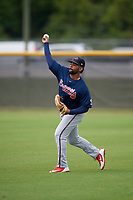 Atlanta Braves Henry Quintero (43) during practice before a Minor League Spring Training game against the New York Yankees on March 12, 2019 at New York Yankees Minor League Complex in Tampa, Florida.  (Mike Janes/Four Seam Images)
