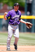 May 31, 2009:  Third Baseman Jared Goedert of the Akron Aeros in the field during a game at Jerry Uht Park in Erie, NY.  The Aeros are the Eastern League Double-A affiliate of the Cleveland Indians.  Photo by:  Mike Janes/Four Seam Images