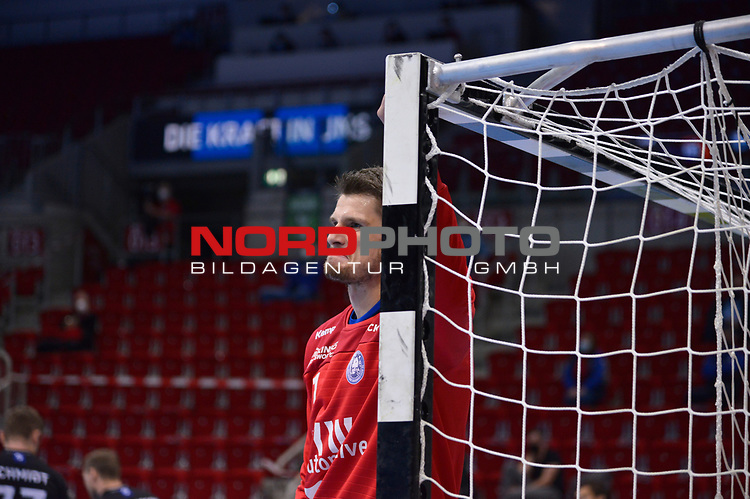 21.11.2020, Duesseldorf, ISS Dome, GER, 1.Liqui Moly HBL,  BHC06 vs. Fuechse Berlin<br /><br />1.Liqui Moly HBL  regulations prohibit any use of photographs as image sequences and/or quasi-video<br />im Bild Christopher Rudeck ( BHC #01 ).<br /><br />Foto © nordphoto / freund *** Local Caption ***