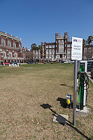 New Orleans, Louisiana.  Parking Reserved for Fuel-efficient Hybrid and Electric Cars, Loyola University.  Battery Re-charging Station.  Uptown District.
