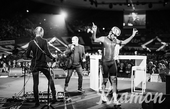 Rock'n'roll Sir Bradley Wiggins (GBR/Wiggins) exiting the stage<br /> <br /> Farewell event in 't Kuipke in Gent/Belgium for Fabian Cancellara after retiring from pro racing (november 2016)