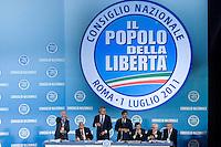 CONSIGLIO NAZIONALE DEL POPOLO DELLA LIBERTA ED ELEZIONE DEL NUOVO SEGRETARIO DEL PARTITO ANGELINO ALFANO...NELLA FOTO IL COMITATO DIRETTIVO..ROMA 1 LUGLIO  2011..PHOTO SERENA CREMASCHI INSIDEFOTO..............................