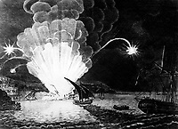 Blowing Up of the Fire Ship Intrepid commanded by Capt. Somers in the Harbour of Tripoli on the night of 4th Sepr. 1804.  This . . . shows her blowing up with Somers and her entire crew.  Copy of engraving, ca.  1810.  (OWI)<br /> NARA FILE #:  208-LU-25F-10<br /> WAR & CONFLICT BOOK #:  74