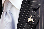A gentleman wears a pin on his lapel at Churchill Downs on Derby Day in Louisville, Kentucky on May 6, 2006.  Barbaro, ridden by Edgar Prado, won the 132nd Kentucky Derby in the tenth race of the day........
