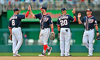 3 September 2012: Washington Nationals rookie outfielder Bryce Harper celebrates a win against the Chicago Cubs at Nationals Park in Washington, DC. The Nationals edged out the visiting Cubs 2-1, in the first game of heir 4-game series. Mandatory Credit: Ed Wolfstein Photo