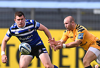 31st August 2020; Recreation Ground, Bath, Somerset, England; English Premiership Rugby, Dan Robson of Wasps passes the ball under pressure from Ben Spencer of Bath