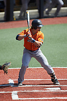 Dylan Rock (27) of the UTSA Roadrunners at bat against the Charlotte 49ers at Hayes Stadium on April 18, 2021 in Charlotte, North Carolina. (Brian Westerholt/Four Seam Images)