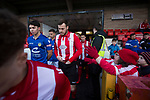Witton Albion 1 Warrington Town 2, 26/12/2017. Wincham Park, Northern Premier League. The players emerge from the tunnel at Wincham Park, home of Witton Albion (in red) before their Northern Premier League premier division fixture with Warrington Town. Formed in 1887, the home team have played at their current ground since 1989 having relocated from the Central Ground in Northwich. With both team chasing play-off spots, the visitors emerged with a 2-1 victory, the winner being scored by Tony Gray in second half injury time, watched by a crowd of 503. Photo by Colin McPherson.