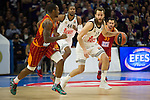 Real Madrid´s Sergio Rodriguez and Galatasaray´s Young during 2014-15 Euroleague Basketball match between Real Madrid and Galatasaray at Palacio de los Deportes stadium in Madrid, Spain. January 08, 2015. (ALTERPHOTOS/Luis Fernandez)