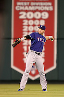 Texas Rangers center fielder Josh Hamilton #32 during a game against the Los Angeles Angels at Angel Stadium on September 27, 2011 in Anaheim,California. Texas defeated Los Angeles 10-3.(Larry Goren/Four Seam Images)