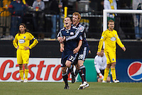 8 MAY 2010:  New England Revolutions' Zak Boggs (33) and Pat Phelan celebrate a goal during MLS soccer game between New England Revolution vs Columbus Crew at Crew Stadium in Columbus, Ohio on May 8, 2010. The Columbus defeated New England 3-2.