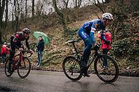 Niki Terpstra (NED/Quick-Step Floors) charging up the Trieu with Jempy Drucker (LUX/BMC) trying to hold his wheel<br /> <br /> 73rd Dwars Door Vlaanderen 2018 (1.UWT)<br /> Roeselare - Waregem (BEL): 180km