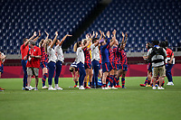 SAITAMA, JAPAN - JULY 24: The United States celebrate their victory during a game between New Zealand and USWNT at Saitama Stadium on July 24, 2021 in Saitama, Japan.