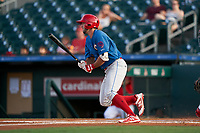Clearwater Threshers Matt Vierling (28) bats during a Florida State League game against the Palm Beach Cardinals on August 9, 2019 at Roger Dean Chevrolet Stadium in Jupiter, Florida.  Palm Beach defeated Clearwater 3-0 in the second game of a doubleheader.  (Mike Janes/Four Seam Images)