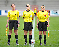 UEFA Women's Under 17 Championship - Second Qualifying round - group 1 : England - Iceland : .Referee..Eszter Urban (HUN).Assistant referees..Timea Nagy (HUN), Veronique Geerts (BEL)..foto DAVID CATRY / Vrouwenteam.be