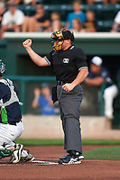 Umpire Greg Roemer during a game between the Hudson Valley Renegades and Vermont Lake Monsters on September 3, 2015 at Centennial Field in Burlington, Vermont.  Vermont defeated Hudson Valley 4-1.  (Mike Janes/Four Seam Images)