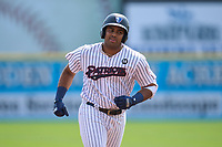 Somerset Patriots Dermis Garcia (20) rounds the bases after hitting a home run during a game against the Hartford Yard Goats on September 12, 2021 at TD Bank Ballpark in Bridgewater, New Jersey.  (Mike Janes/Four Seam Images)