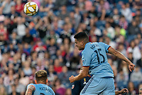 FOXBOROUGH, MA - SEPTEMBER 29: Tony Rocha #15 of New York City FC heads the ball during a game between New York City FC and New England Revolution at Gillette Stadium on September 29, 2019 in Foxborough, Massachusetts.