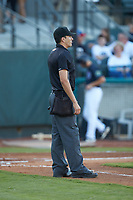 Home plate umpire Luis Avalos between innings of the Appalachian League playoff game between the Burlington Royals and the Pulaski Yankees at Calfee Park on August 31, 2019 in Pulaski, Virginia. The Yankees defeated the Royals 6-0. (Brian Westerholt/Four Seam Images)
