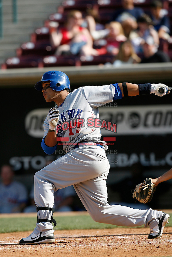Javier Herrera of the Stockton Ports during a California League baseball game on April 29, 2007 at The Diamond in Lake Elsinore, California. (Larry Goren/Four Seam Images)