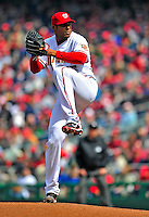 13 April 2009: Washington Nationals' starting pitcher Daniel Cabrera on the mound against the Philadelphia Phillies during the Nats' Home Opener at Nationals Park in Washington, DC. The Nats fell short in their 9th inning rally, losing 9-8, and marking their 7th consecutive loss of the 2009 season. Mandatory Credit: Ed Wolfstein Photo