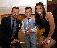 Pictured: Under 9 winner Harrison Pugh (C) with Nia Davies (R) Saturday 27 May 2017<br /> Re: Swansea City FC Academy Awards Evening at the Liberty Stadium, Wales, UK