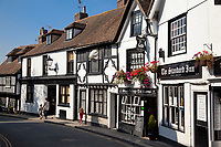 United Kingdom, UK, England, East Sussex, Rye, Great Britain, People walking along a street of half-timbered houses in the medieval Cinque Port of Rye