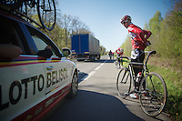 Kenny Dehaes (BEL/Lotto-Belisol) checking is with team manager Marc Sergeant<br /> <br /> 2014 Paris - Roubaix reconnaissance