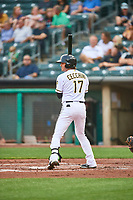 Gavin Cecchini (17) of the Salt Lake Bees at bat against the Sacramento River Cats at Smith's Ballpark on August 16, 2021 in Salt Lake City, Utah. The Bees defeated the River Cats 6-0. (Stephen Smith/Four Seam Images)