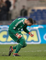 Calcio, Serie A: AS Roma - AC Milan, Roma, stadio Olimpico, 25 febbraio, 2018.<br /> Milan's goalkeeper Gianluigi Donnarumma celebrates after winning 2-0 the Italian Serie A football match between AS Roma and AC Milan at Rome's Olympic stadium, February 28, 2018.<br /> UPDATE IMAGES PRESS/Isabella Bonotto