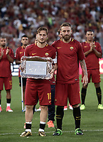 Calcio, Serie A: Roma, stadio Olimpico, 28 maggio 2017.<br /> As Roma's Francesco Totti and Daniele De Rossi during a ceremony to celebrate Totti's last match with AS Roma after the Italian Serie A football match between AS Roma and Genoa at Rome's Olympic stadium, May 28, 2017.<br /> Francesco Totti's final match with Roma after a 25-season career with his hometown club.<br /> UPDATE IMAGES PRESS/Isabella Bonotto