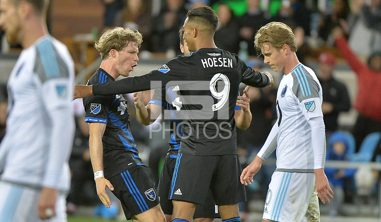 San Jose, CA - Saturday March 03, 2018: Danny Hoesen scores a goal during a 2018 Major League Soccer (MLS) match between the San Jose Earthquakes and Minnesota United FC at Avaya Stadium.