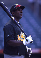 Miguel Tejada of the Oakland Athletics during a 2001 season MLB game at Angel Stadium in Anaheim, California. (Larry Goren/Four Seam Images)