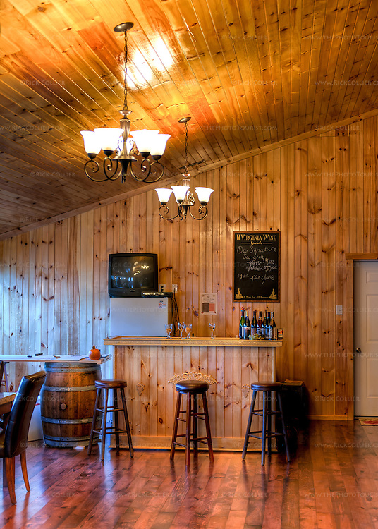 Beautiful wood paneling lines the tasting room at DeVault Family Vineyards. (HDR image)